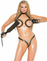 Leather Lust Open Bust Bra & Crotchless Thong Set