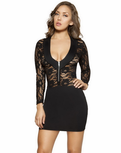 Little Black Long Sleeve Lace Dress