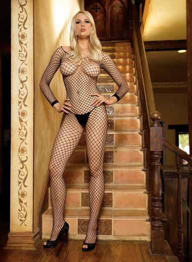 Long Sleeves Industrial Net Open Crotch Bodystocking