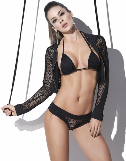 Love Crime Lace Jacket, Bra, & Thong Set