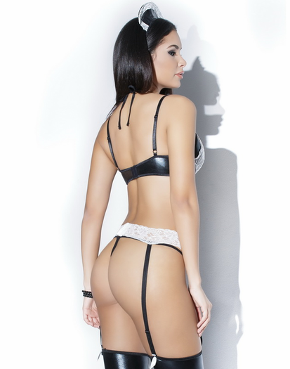 Maid For You Lace Bra, Garter Belt & G-string Set