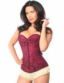 Midsummer Love Wine Lace Up Corset
