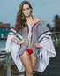Naughty In Navy Sexy Stripes Cover Up Poncho