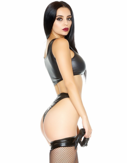 Night Rider Black Wet Look Bra & Thong Set