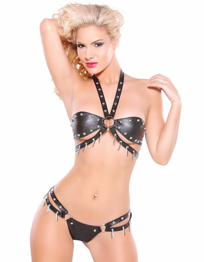 Noir Collection Mr. Gray's Slave Sexy Bra & Thong Set