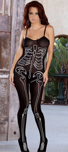 Opaque Bodystocking with Skeleton Print