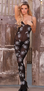 Opaque Bodystocking with Spider Web Print