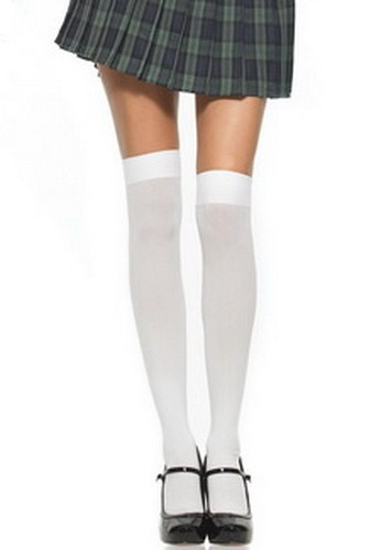 Opaque Nylon Thigh High Stockings