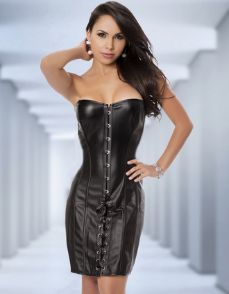 sexy corset dress black leather dress faux leather dress