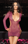 Pink Zebra Fishnet Mini Dress
