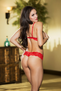 Play This Game Pearl Red Lace Bra and G-String Set