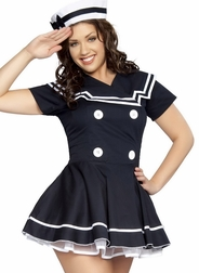 Plus Size 2 PC Pin-Up Captain Costume