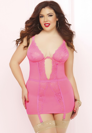 Plus Size Arm Candy Sexy Garter Chemise & Thong Set