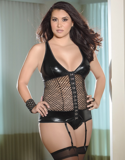 Plus Size Fishnet Fetish Bustier
