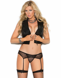 Plus Size Fishnet Garterbelt & Panty Set