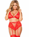Plus Size Honeymoon Fantasy Lace Bra & Garter Panty Set