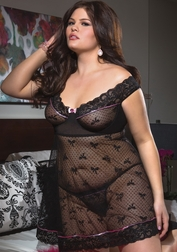 Plus Size Let's Play A Dirty Little Game Babydoll & G-string