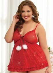 Plus Size Little Holiday Gift Sexy Babydoll