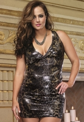 Plus Size Lusty Leopard Sequin Dress