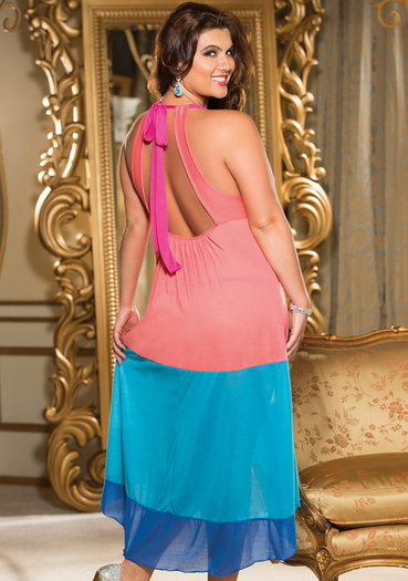Plus Size Colorful Long Gowns, Plus Size Sleeping Gowns, Plus Size Sexy Sleeping Gowns, Plus Size Cheap Sleepwear