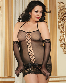 Plus Size Pink Diamond Fishnet Fun Chemise & Glove Restraints Set