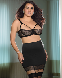 Plus Size Queen Spanking Skirt, Stockings, & Bra Set
