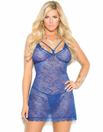 Plus Size Royal Blue Boudoir Lace Chemise & Thong Set