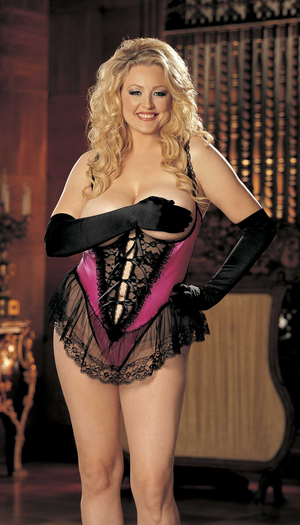 Plus Size Satin and Lace Open Bust Crotchless Teddy