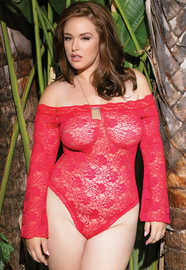 Plus Size Sensual Side Snap Crotch Lace Teddy