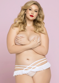 Plus Size Sexy Skirted Cage Side Thong