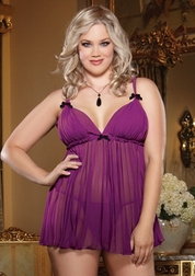 Plus Size Sheer Enticement Pleated Babydoll