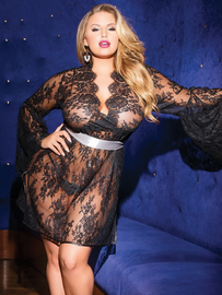 Plus Size Under My Spell Black Lace Chemise