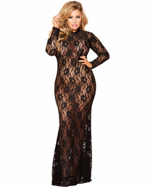 Plus Size Unfaithful Lace Lingerie Gown