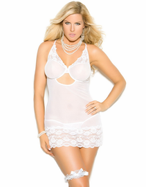 Plus Size Walk Down The Aisle White Lace Chemise & Garter Set