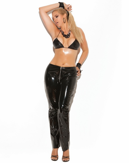 Plus Size Zip Front Vinyl Pants