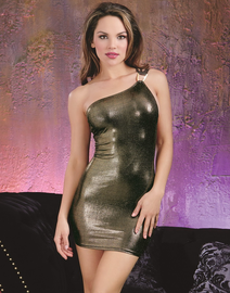 Purple Diamond Gold One Shoulder Club Dress