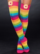 Rainbow Daisy Thigh High Socks