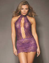 Red Diamond Plum Lace Chemise Lingerie Dress