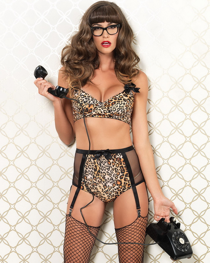 Retro Risk Sexy High Waist Garter Panty & Bra Set