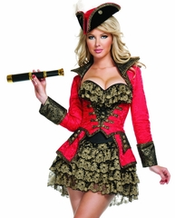 Scarlet Pirate Sexy 4 PC Costume