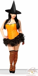 Sexy Orange Pin-Up Witch Costume