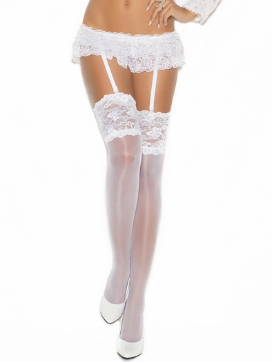 Sheer Floral Thigh High Stockings
