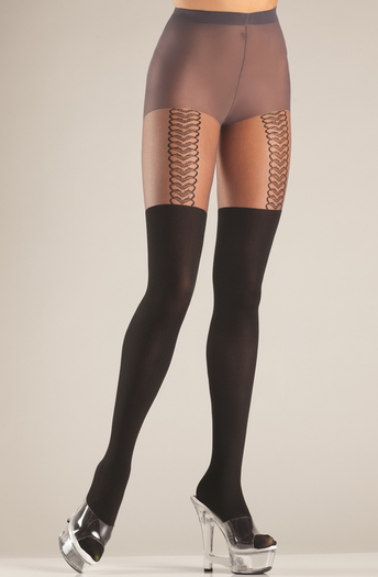 Sheer Mock Suspender Pantyhose