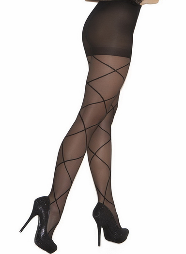 Sheer Pantyhose With Criss Cross