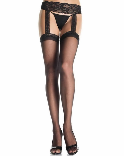 Sheer Thigh High With Lace Waist