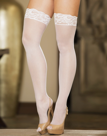 Silicone Lace Top Sheer Thigh High Stockings