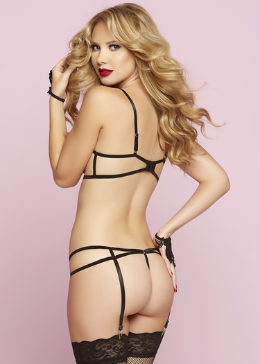 Steal The Show Open Cup Bra & Garter Panty Set