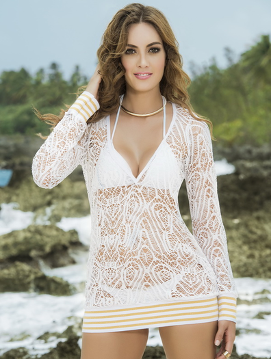 Striped & Sexy Beach Dress Cover Up