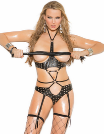 Studded Leather Love Cupless Garter Teddy