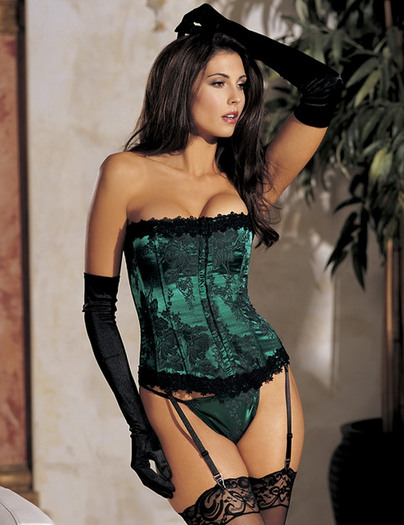 Stunning Floral Tapestry Strapless Corset & Thong